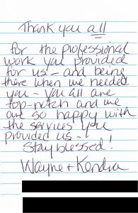 Wayne & Kendra Thank you note