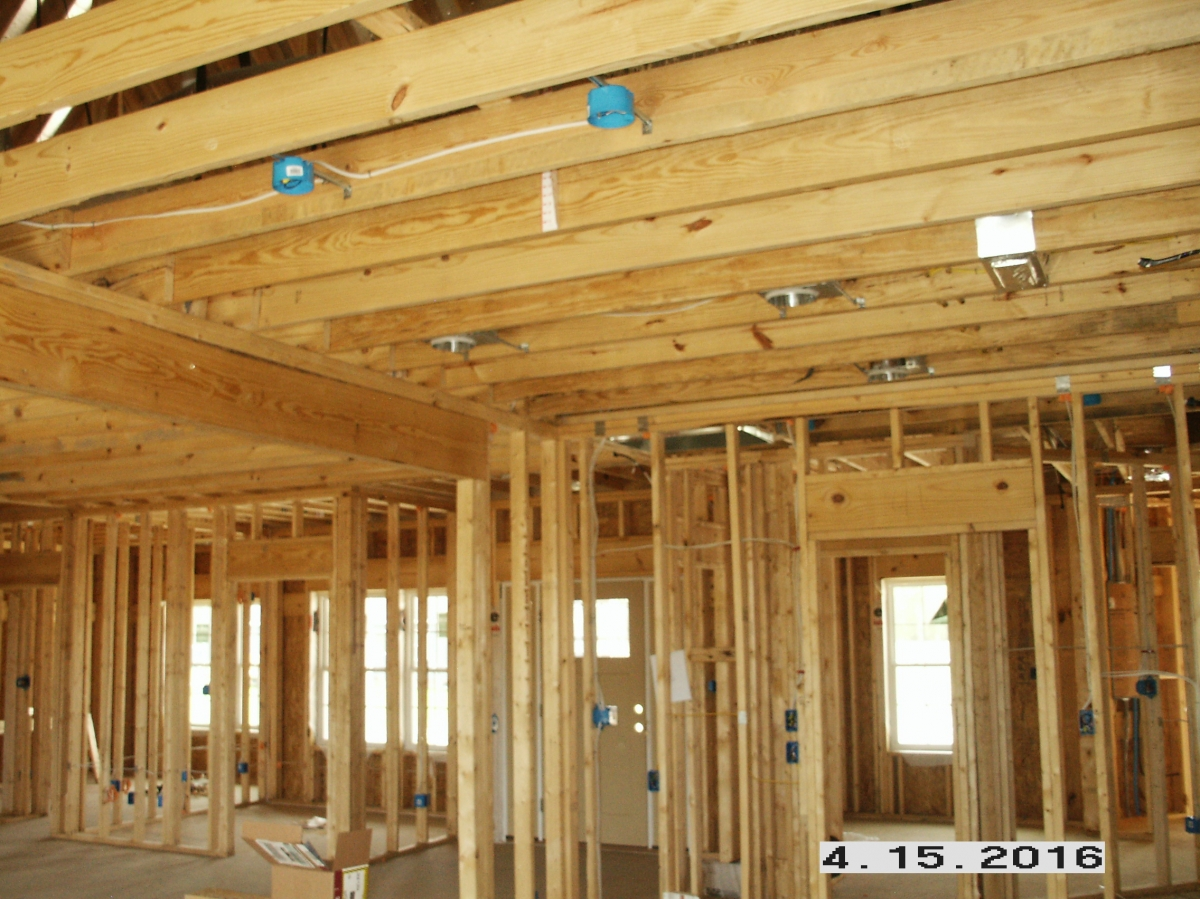 new construction ceiling boxes and recessed cans mounted and wired